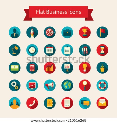 Modern flat design vector set of colored round icons with long shadow effect for business, finance, office work, professional staff, time management for mobile and web applications. Isolated on white - stock vector