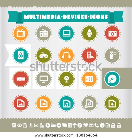 Modern flat design vintage multimedia icons, on circles - stock vector