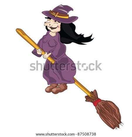 Modern flat design with funny cartoon witch on broomstick, isolated on white background