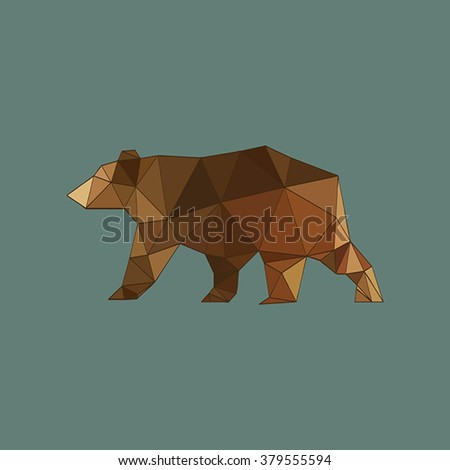 Modern flat design with outlined origami bear isolated on blue background