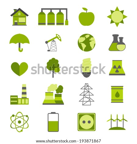 Modern flat energy vector icons set for your design