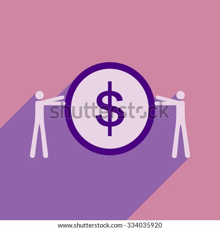Modern flat icon with shadow coin and people  - stock vector