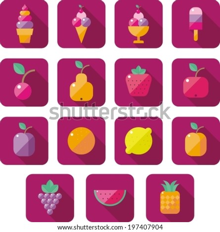 modern flat icons collection with ice cream and fruits - stock vector