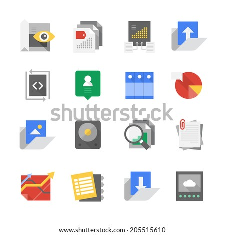 Modern flat icons of user interface, computing, web development and content organization technology - stock vector