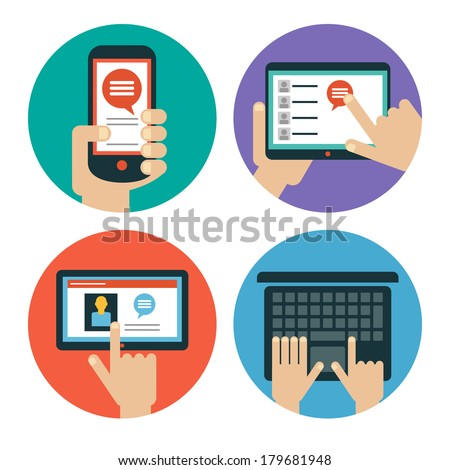 Modern flat icons. Set of hands touching  tablet, laptop and smart phone. Isolated on white background.  - stock vector