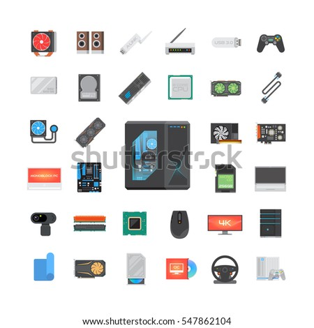 Modern flat icons set. PC components. Computer store. Assembling a Desktop Computer. Vector elements.