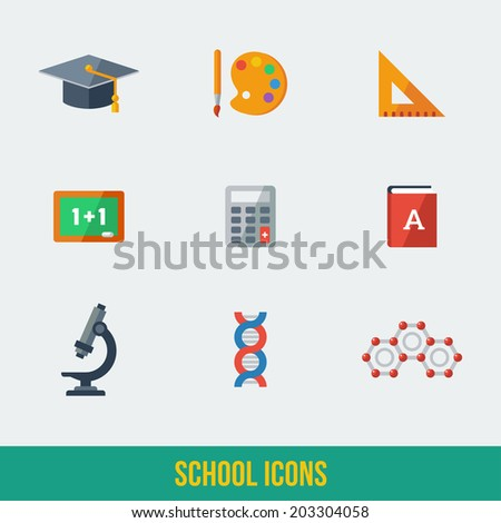 Modern flat icons vector collection. High school object and college education items with teaching and learning symbols. Studying and educational elements. Chalkboard, hat, paintbrush with palette. - stock vector