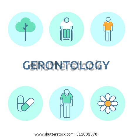 Modern flat icons vector collection in stylish colors of gerontology items, health care, medical and pharmacy objects. Infographic icon set, logo abstract design pictogram vector concept. - stock vector
