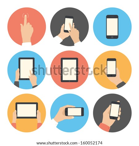 Modern flat icons vector collection in stylish retro colors of mobile phone and digital tablet using with hand touching screen symbol. Isolated on white background. - stock vector