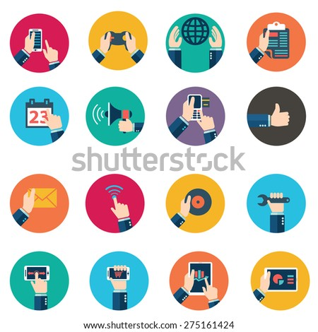 Modern flat icons vector collection in stylish retro colors of mobile phone, digital tablet and other devices using with hand symbol. Isolated on white background - stock vector