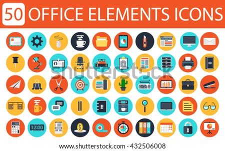 Modern flat icons vector collection of business elements, office equipment and marketing items. Isolated on white background. - stock vector