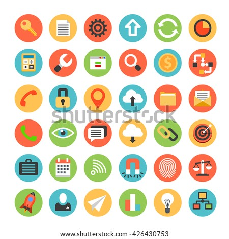 Modern Flat Icons Vector Collection. Stylish colors of Web Design Objects. Business, Office and Technology items. Vector Illustration Isolated on White Background.