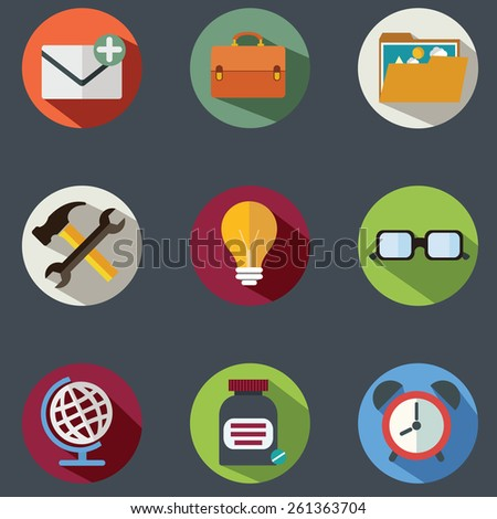 Modern flat icons vector collection with long shadow effect in stylish colors of business elements, office equipment and marketing items - stock vector