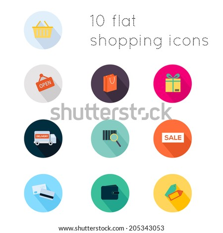 Modern flat icons vector collection with long shadow effect in stylish colors of shopping theme. Isolated on white background.
