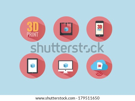 Modern flat icons vector collection with long shadow effect of 3D printers and 3D files. - stock vector