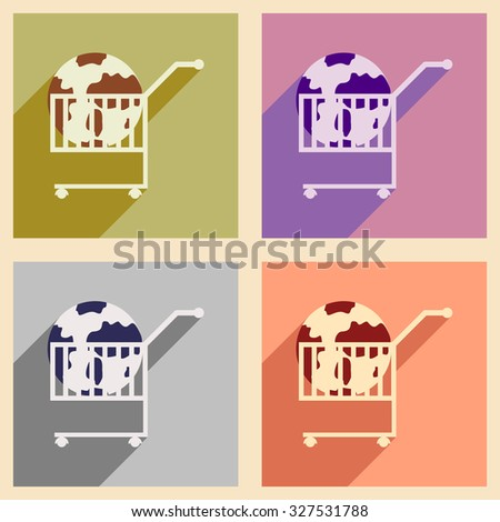 Modern flat icons vector collection with shadow globe in trolley - stock vector