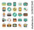 Modern flat icons vector illustration collection in stylish colors of multimedia symbols, sound instruments, audio and video items and objects. Isolated on white background. - stock vector