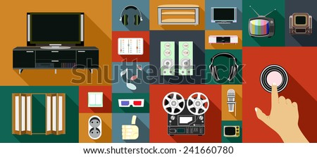 Modern flat icons vector illustration collection with long shadow design in stylish colors of multimedia symbols, audio and video items and objects. - stock vector