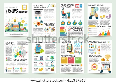 Modern flat Infographics of startup business and launch new product on market.  - stock vector