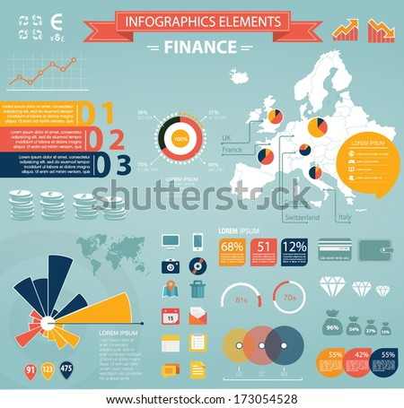 Modern flat infographics set. Europe Map and Information Graphics with finance icons. Easy to edit - stock vector