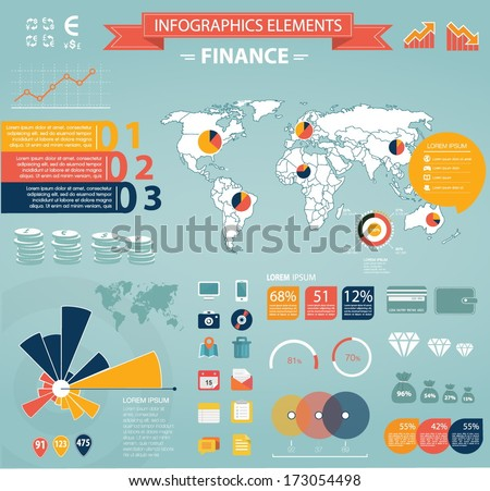 Modern flat infographics set. World Map and Information Graphics with finance icons. Easy to edit - stock vector