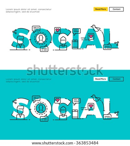 Modern Flat line design concept of Social Media and Social Network. Flat line design for Website Element ,Web Template , Web Banner , Book Cover and Corporate documents. - stock vector