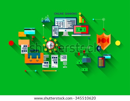 Modern flat line design, web concept of online banking, payment and Online Shopping. Modern vector infographic design illustration composition. - stock vector