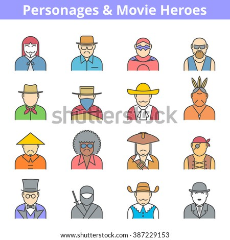 Modern flat line vector avatar icon set. Personages and movie heroes people isolated on white background. Actor professions and occupations, suitable for infographics, web graphic, social networks.