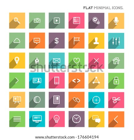 Modern Flat Minimal Icons - SEO and development flat icon collection. - stock vector