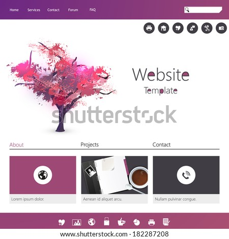 Modern Flat minimalistic Website - stock vector