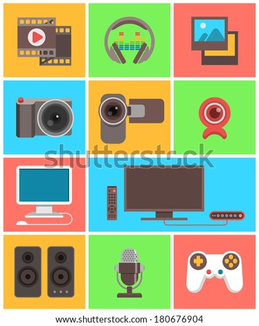 Modern flat multimedia icons in colored squares - stock vector