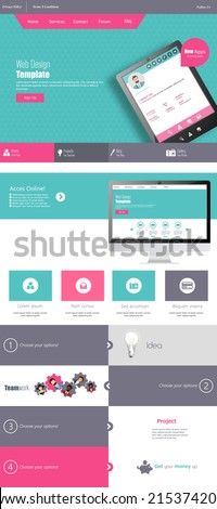 Modern Flat One page website design template. - stock vector