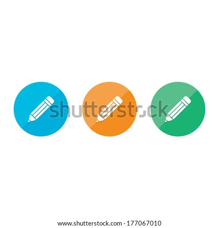 Modern Flat Pencil Icons - stock vector