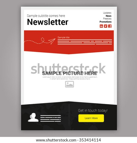 Modern flat red and black newsletter template