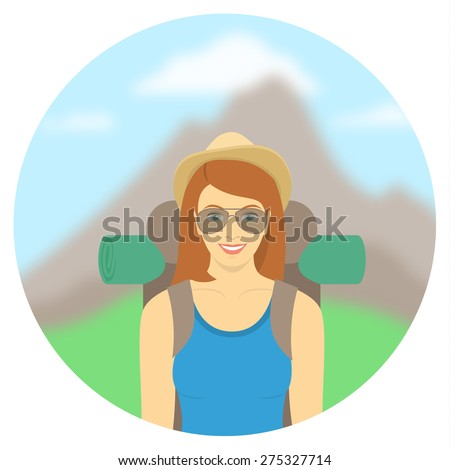 Modern flat round vector illustration of smiling young woman tourist with a backpack on the background of mountain landscape. Hiking and camping activity concept. Happy hipster girl explores the world - stock vector
