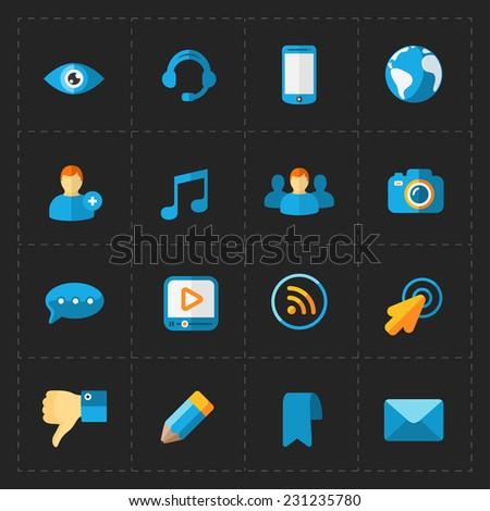 Modern flat social icons set on Black - stock vector