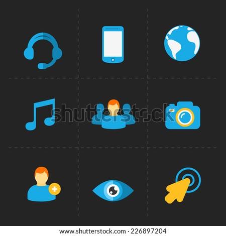 Modern flat social icons set on Dark - stock vector