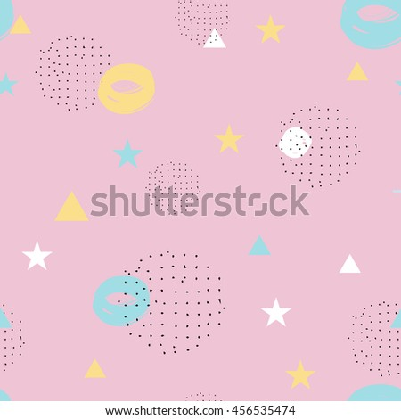 Modern flat style abstract pattern in black, pastel pink, yellow and mint green on pink background. Seamless background with circles, triangles, polka dot and other geometrical elements.