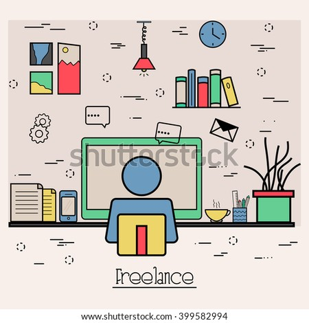 Modern flat style illustration of Business Freelance, Outsource Working Service, Remote co-working space. Hero Image concept, Website Elements layout.One Page template layout. - stock vector