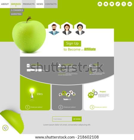 Modern Flat style website design with green apple illustration, Vector EPS10 - stock vector