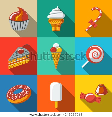 Modern flat sweet icons set with - cupcake, donut, cake, ice creams, christmas candy, lollipop, candies. Vector