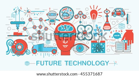 Modern Flat thin Line design Future science technology concept for web banner website, presentation, flyer and poster
