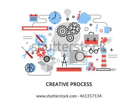 Modern flat thin line design vector illustration, concept of creative process, defining and research problem, for graphic and web design