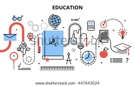 Modern flat thin line design vector illustration, concept of education process, learning in educational institution and items of study equipment, for graphic and web design - stock vector