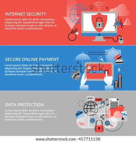 Modern flat thin line design vector illustration, infographic concepts of internet security, secure online and data protection, for graphic and web design - stock vector