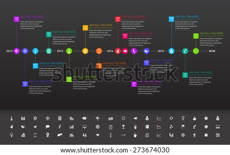 Modern flat time line with exact date and milestones with icons and colors of rainbow - stock vector