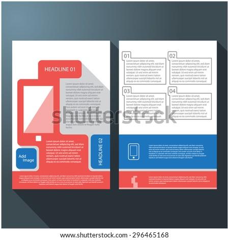 Modern flat UI minimal smartphone brochure / flyer design, eps10 Vector. - stock vector