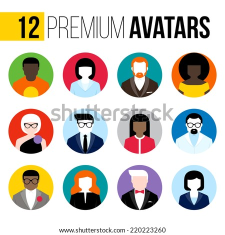 Modern flat vector avatars set. Colorful male and female user icons - stock vector