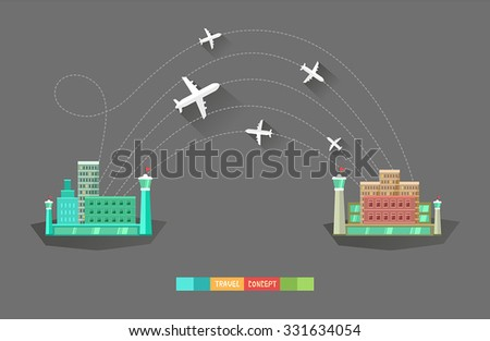Modern flat vector background with airports and airplanes. Traveling concept. Good for web, mobile apps, infographics. - stock vector