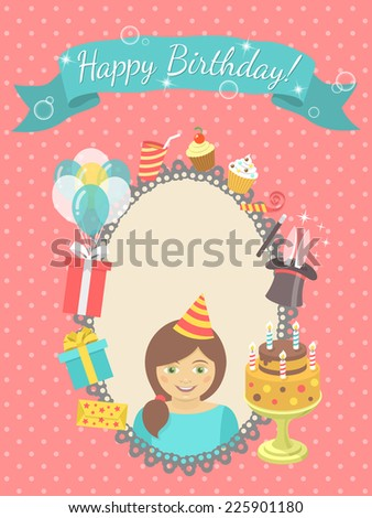 Modern flat vector birthday card with happy girl, gifts, balloons, birthday cake with candles, ribbon with inscription and blank space for text. Invitation for birthday party. - stock vector